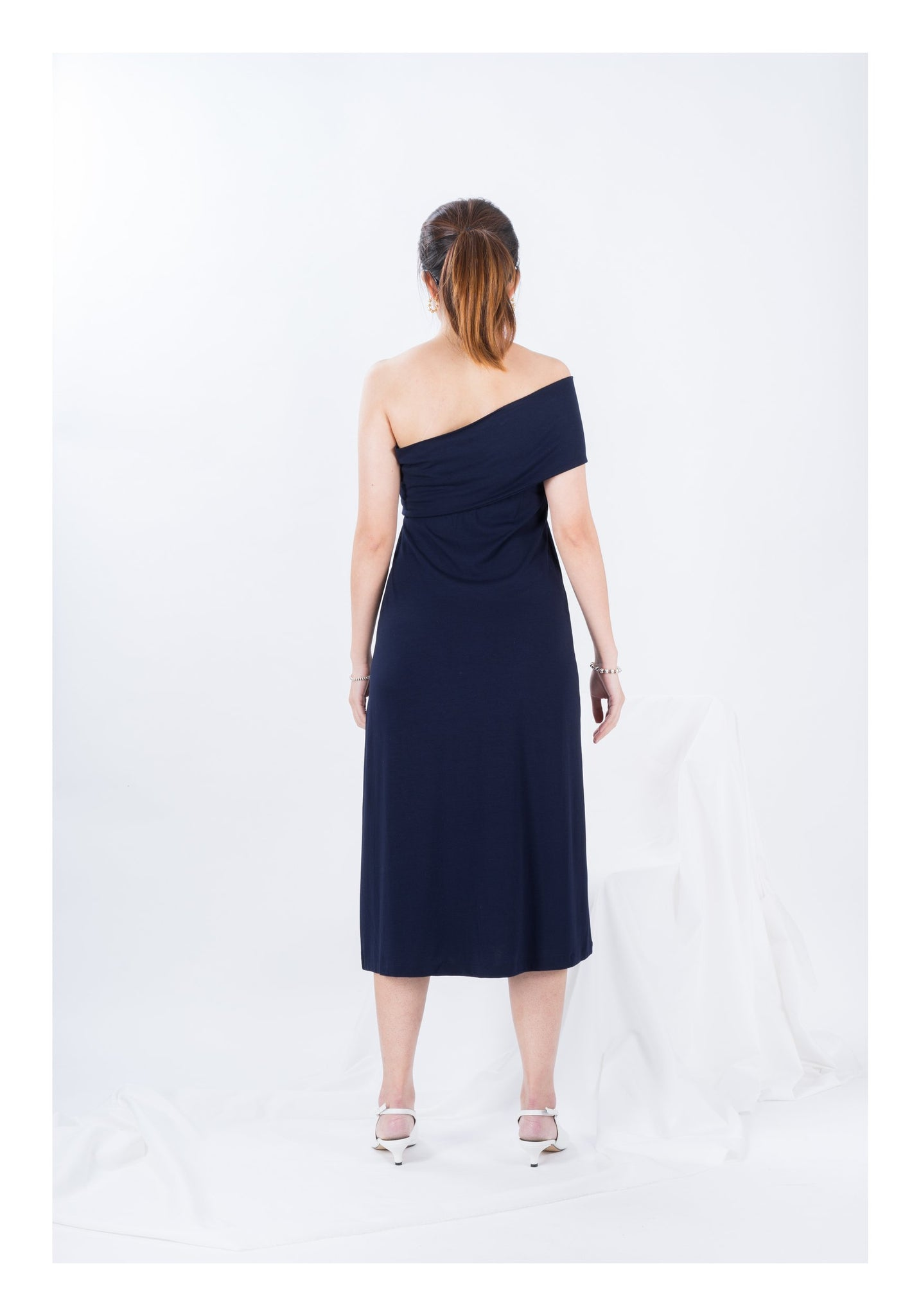 Single Shoulder Cotton Dress - whoami