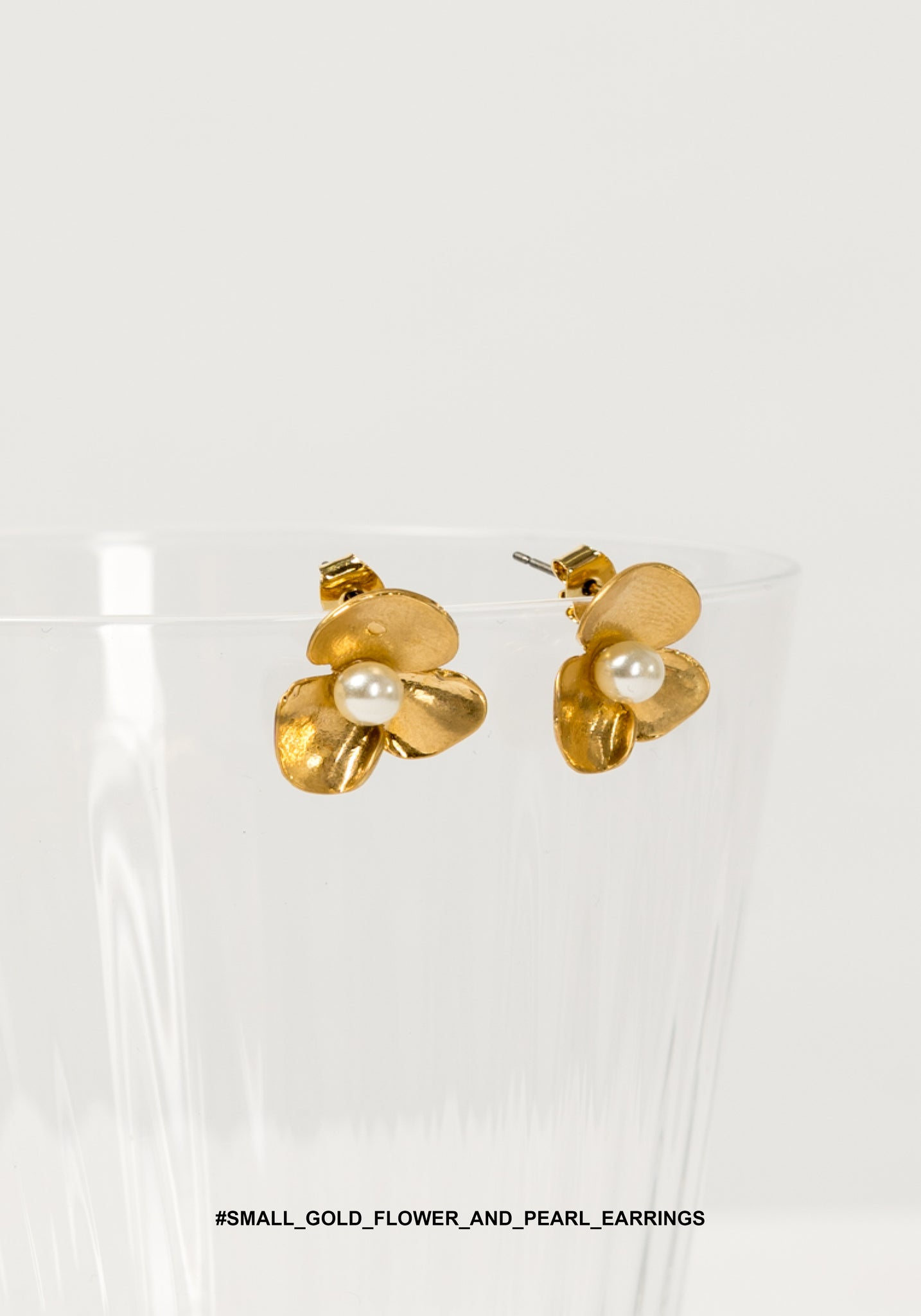 Small Gold Flower And Pearl Earrings