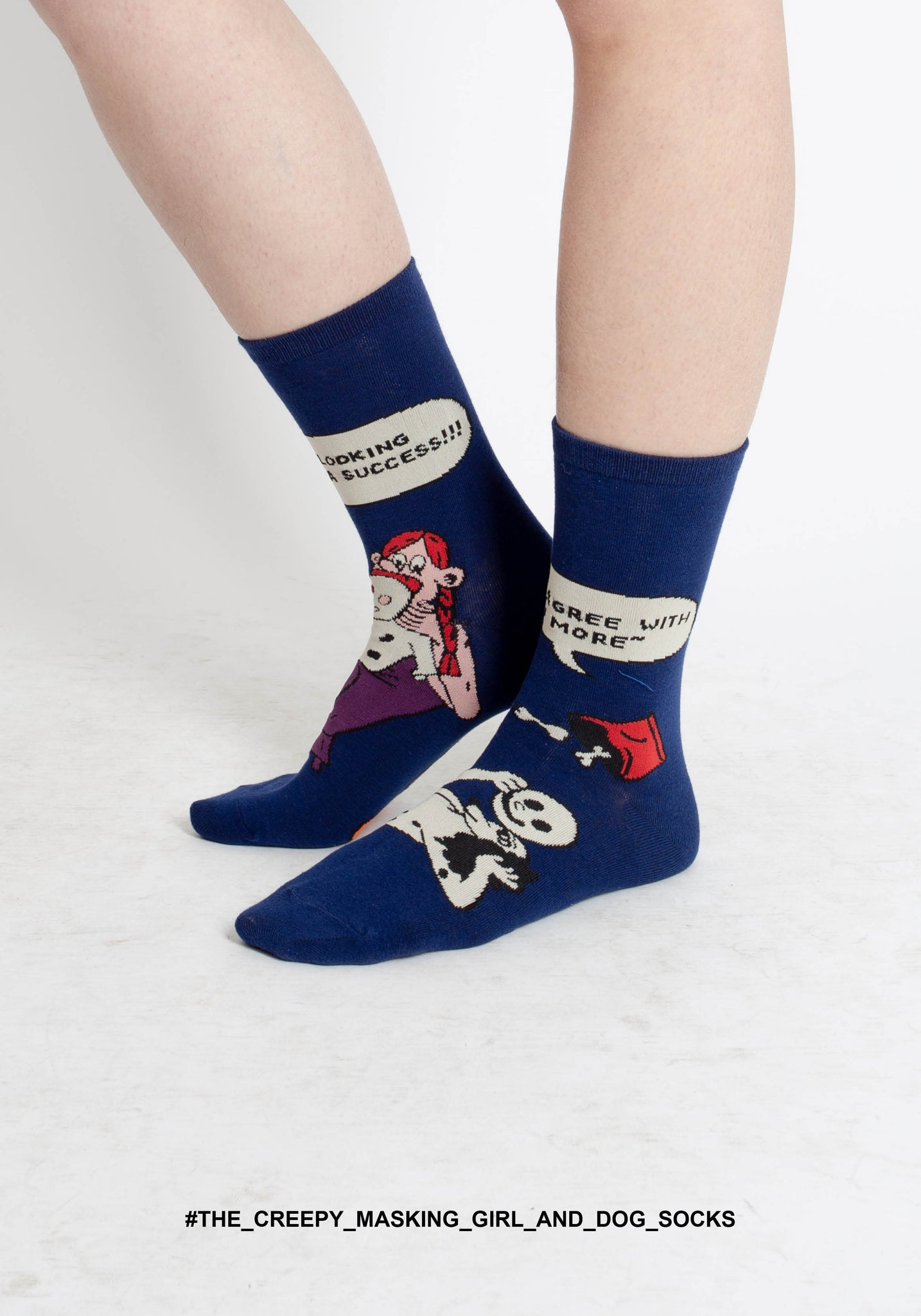 The Creepy Masking Girl And Dog Socks - whoami