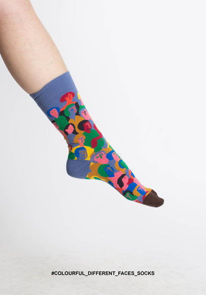 Colourful Different Faces Socks - whoami