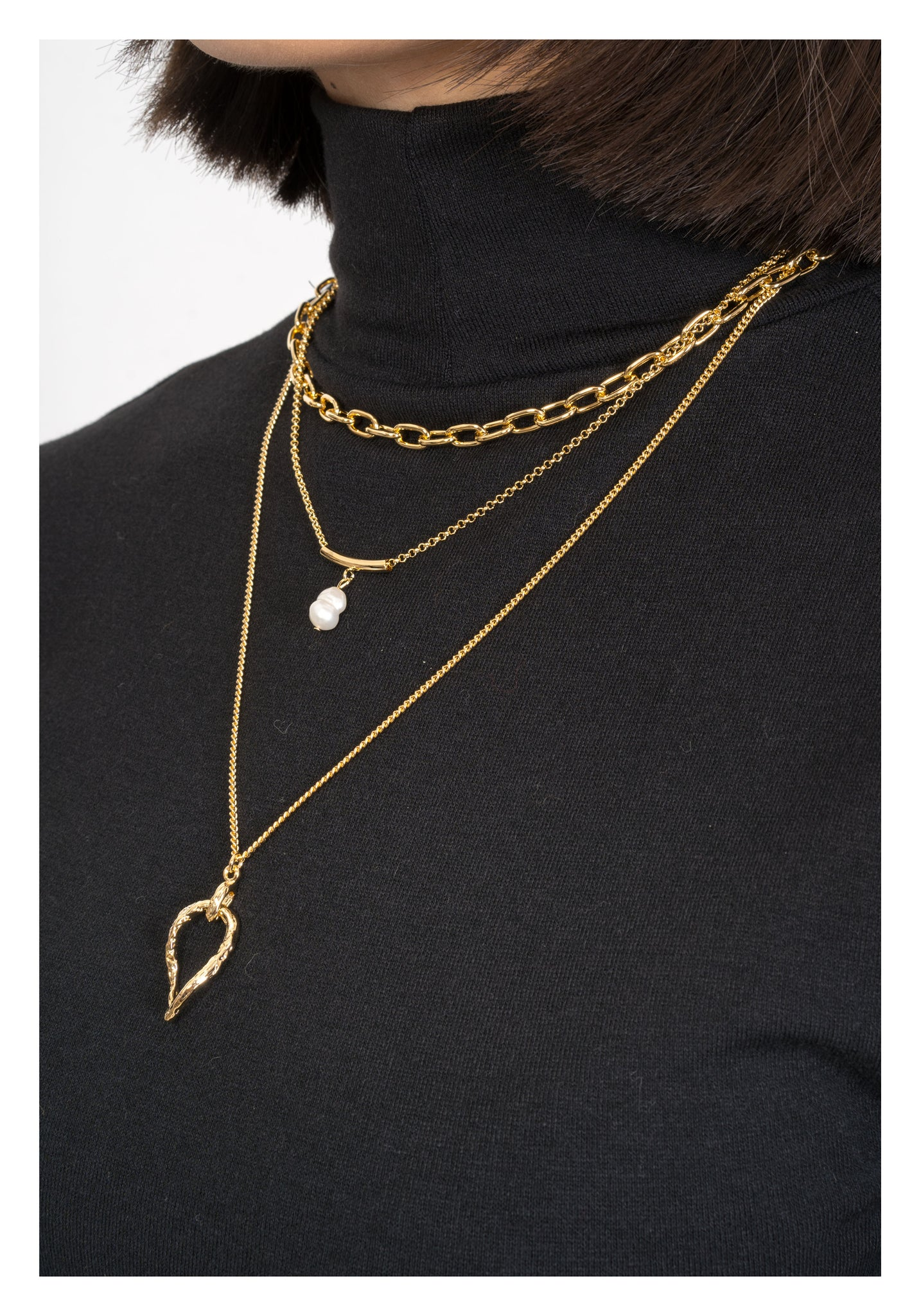 Set of 3 Pendant Chain Necklace Gold - whoami