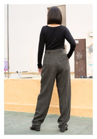 Soft Arrow Wool Boy Friend Long Pants Black