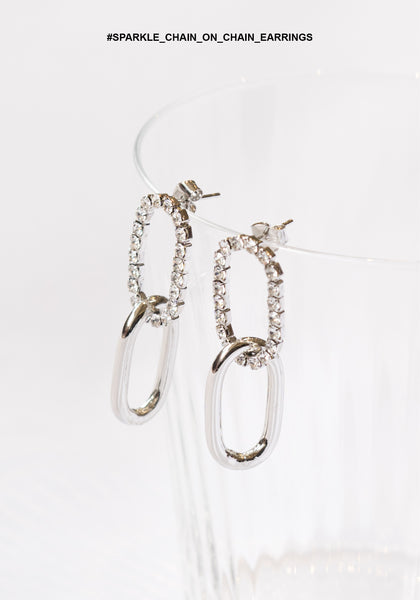 Sparkle Chain on Chain Earrings Silver
