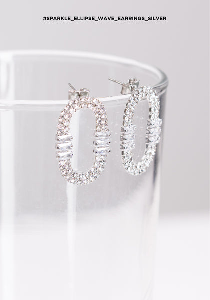 Sparkle Ellipse Wave Silver Earrings - whoami