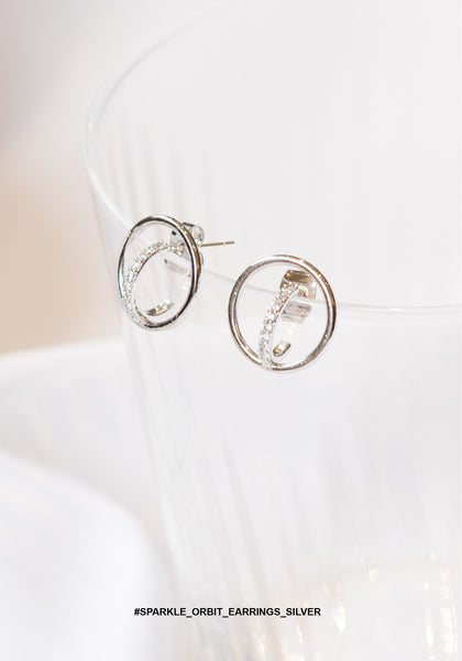Sparkle Orbit Earrings Silver