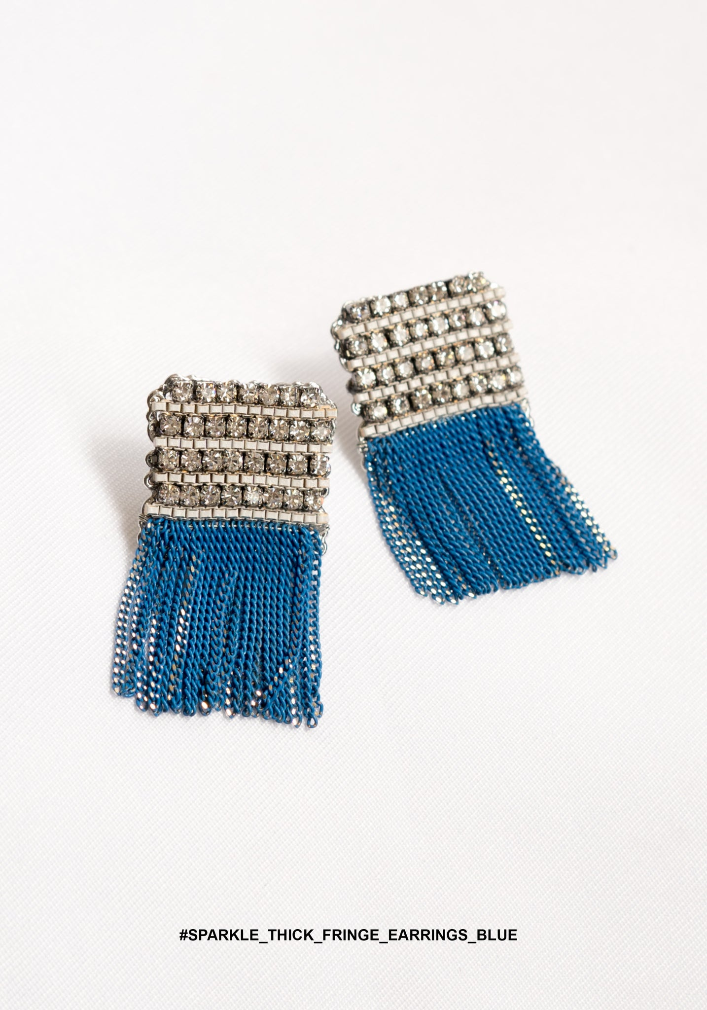 Sparkle Thick Fringe Earrings Blue - whoami