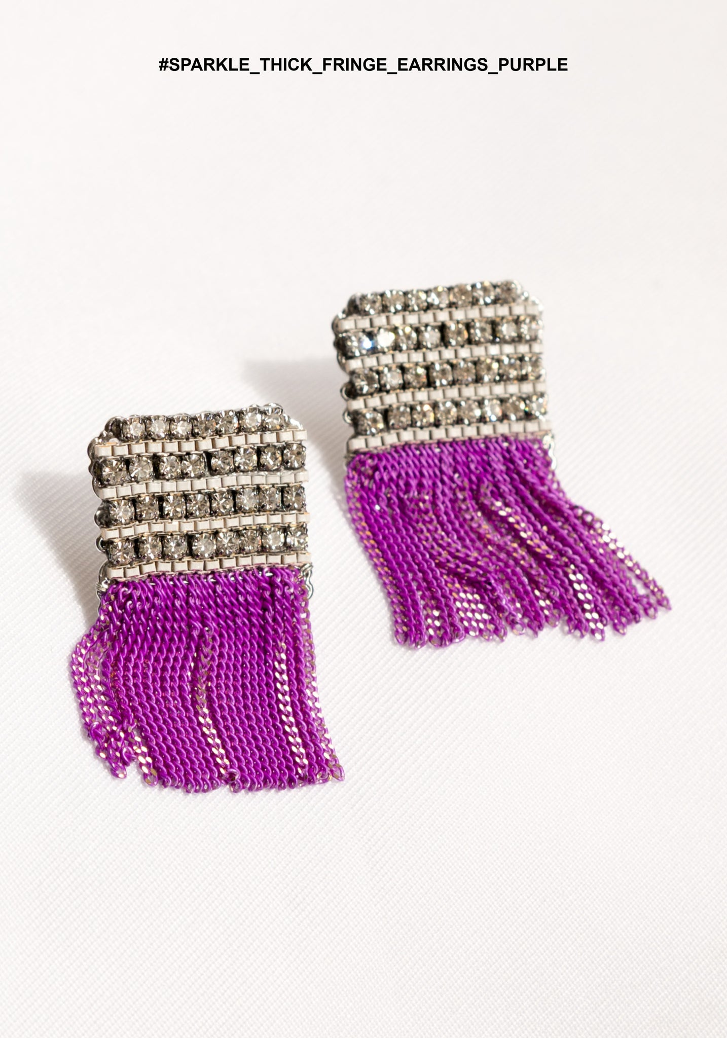 Sparkle Thick Fringe Earrings Purple - whoami