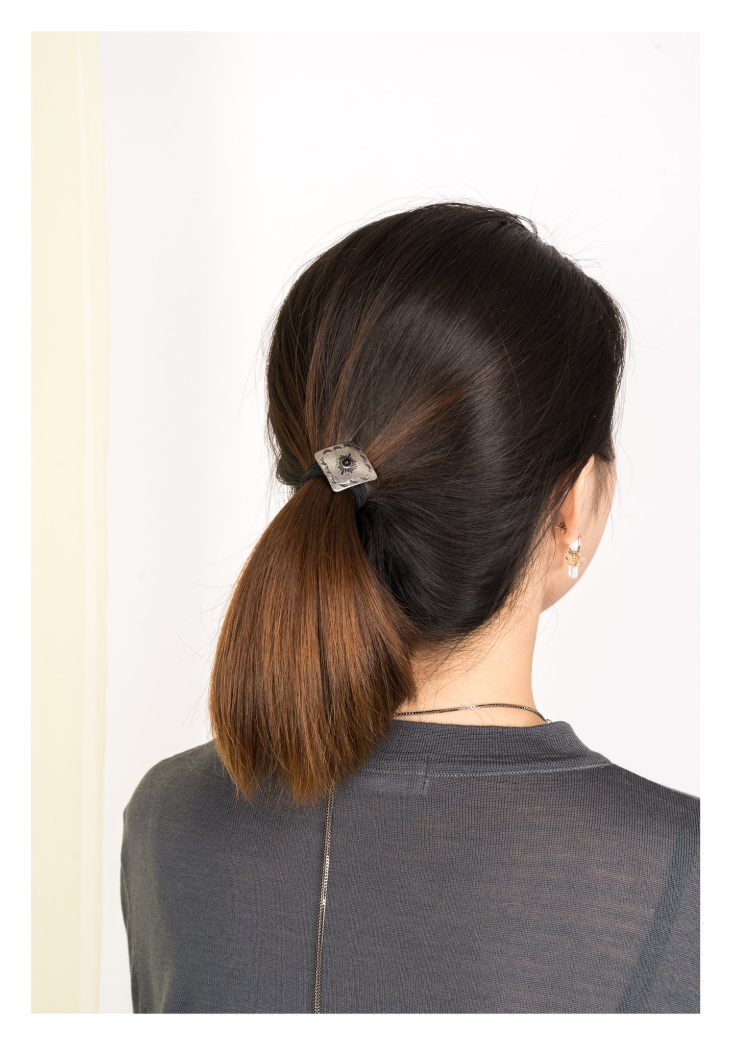 Square Black Gem Hair Clip - whoami