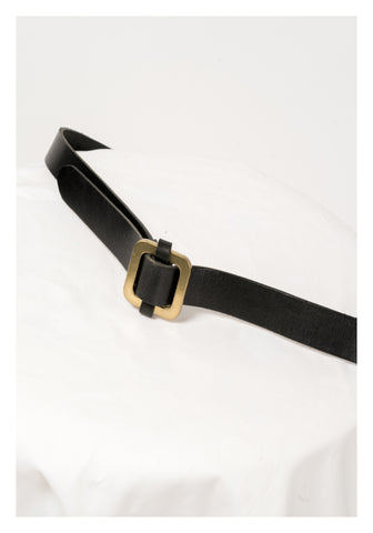 Square Buckle Adjustable Belt Black - whoami