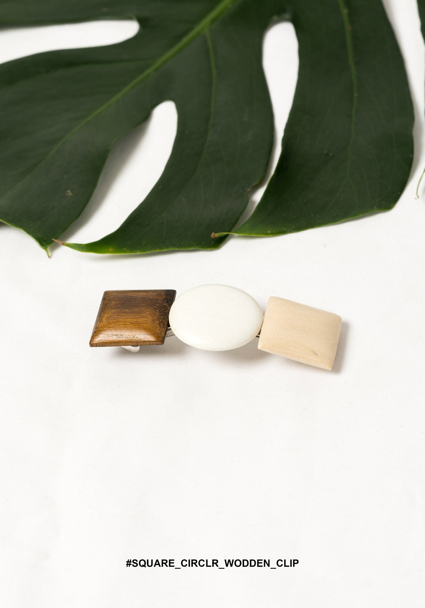 Square Circle Wooden Clip - whoami