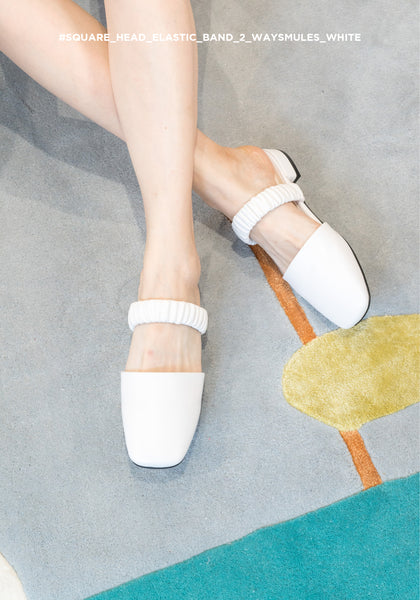 Square Head Elastic Band 2 Ways Mules White
