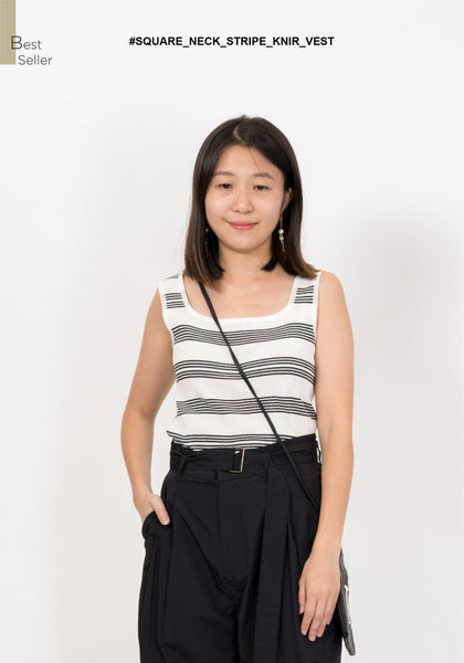Square Neck Stripe Knit Vest White