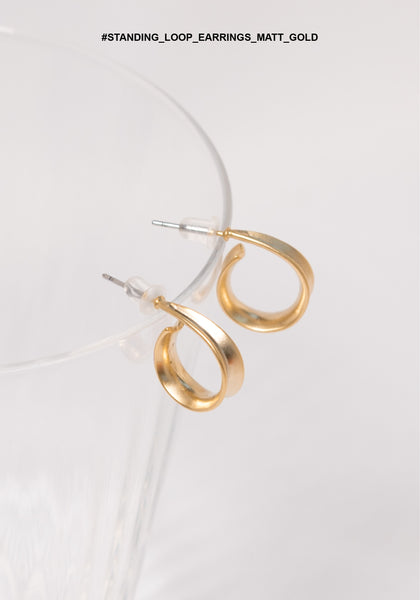 Standing Loop Earrings Matt Gold
