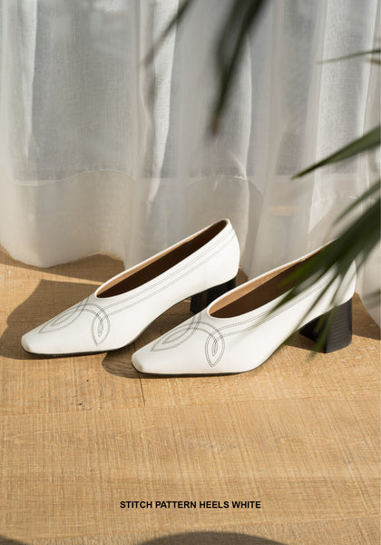 Stitch Pattern Heels White