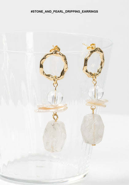 Stone and Pearl Dripping Earrings - whoami