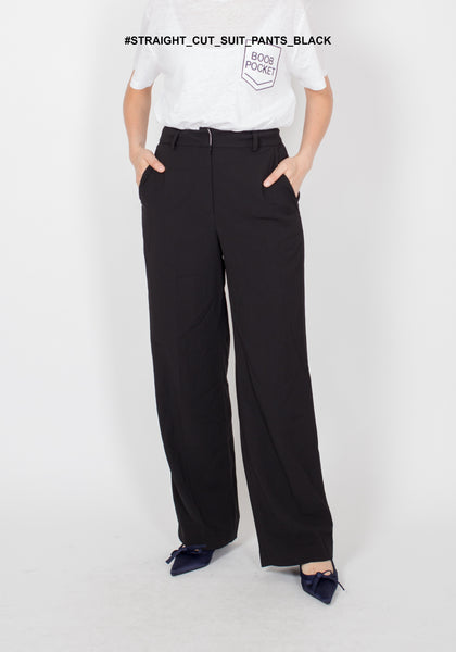 Straight Cut Suit Pants Black