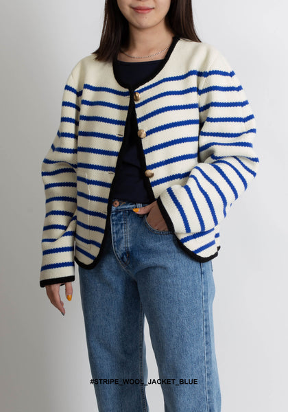 Stripe Wool Jacket Blue - whoami