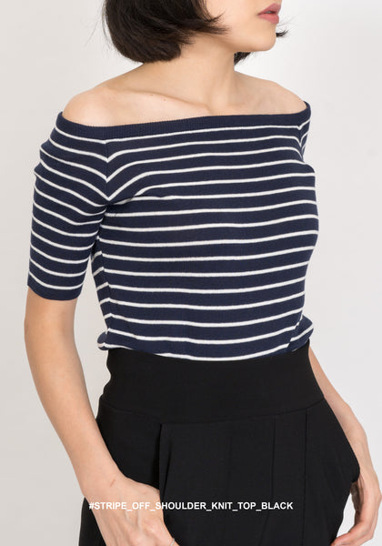 Stripe Off Shoulder Knit Top Black