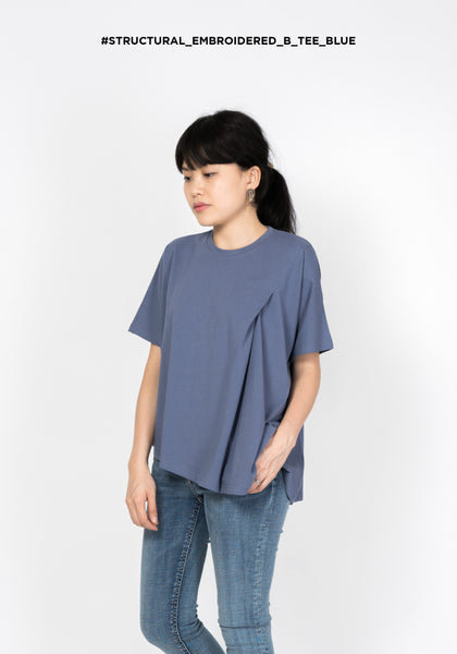 Structural Embroidered B Tee Blue