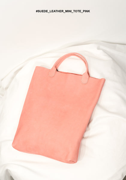 Suede Leather Mini Tote Pink