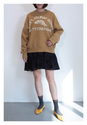 Knitted Pattern Sweater Beige - whoami