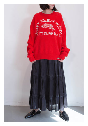Knitted Pattern Sweater Red - whoami