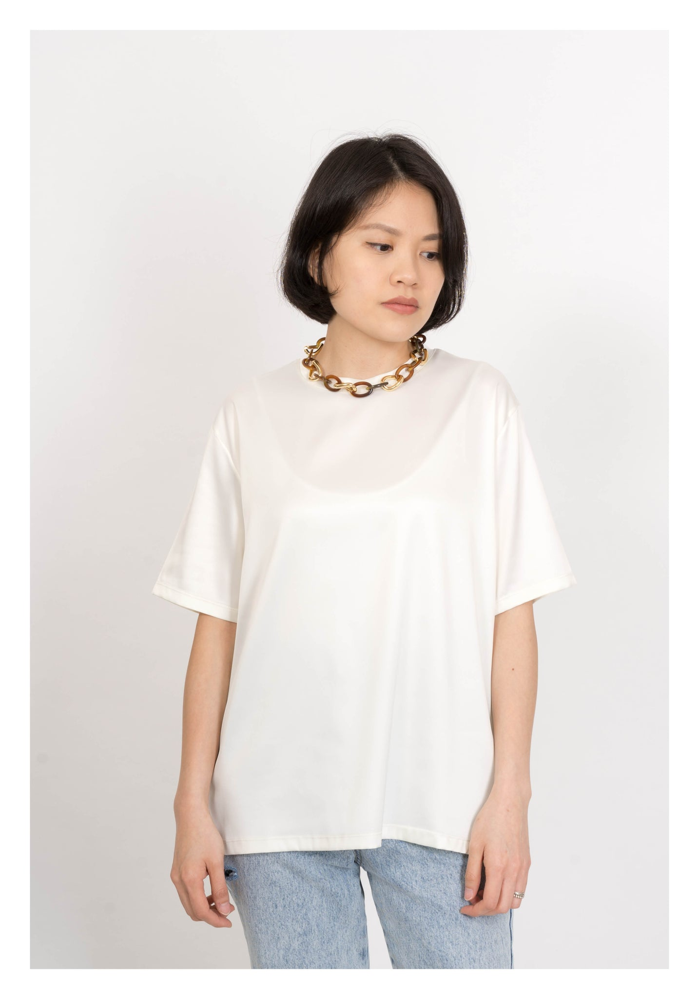 Satin Essential Ivory Top - whoami