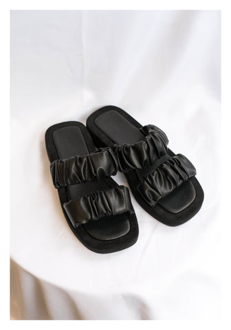 Satin Gather Band Sandal Black - whoami