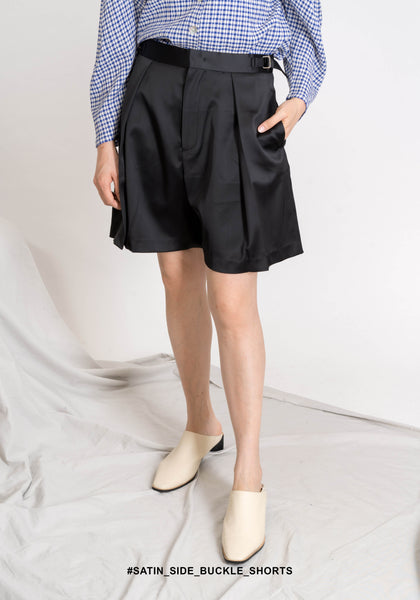 Satin Side Buckle Shorts - whoami