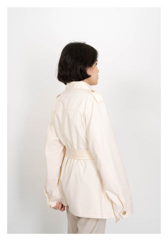 Safari Tie Jacket Ivory - whoami