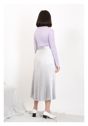Satin Side Stripe Pleated Skirt Silver - whoami