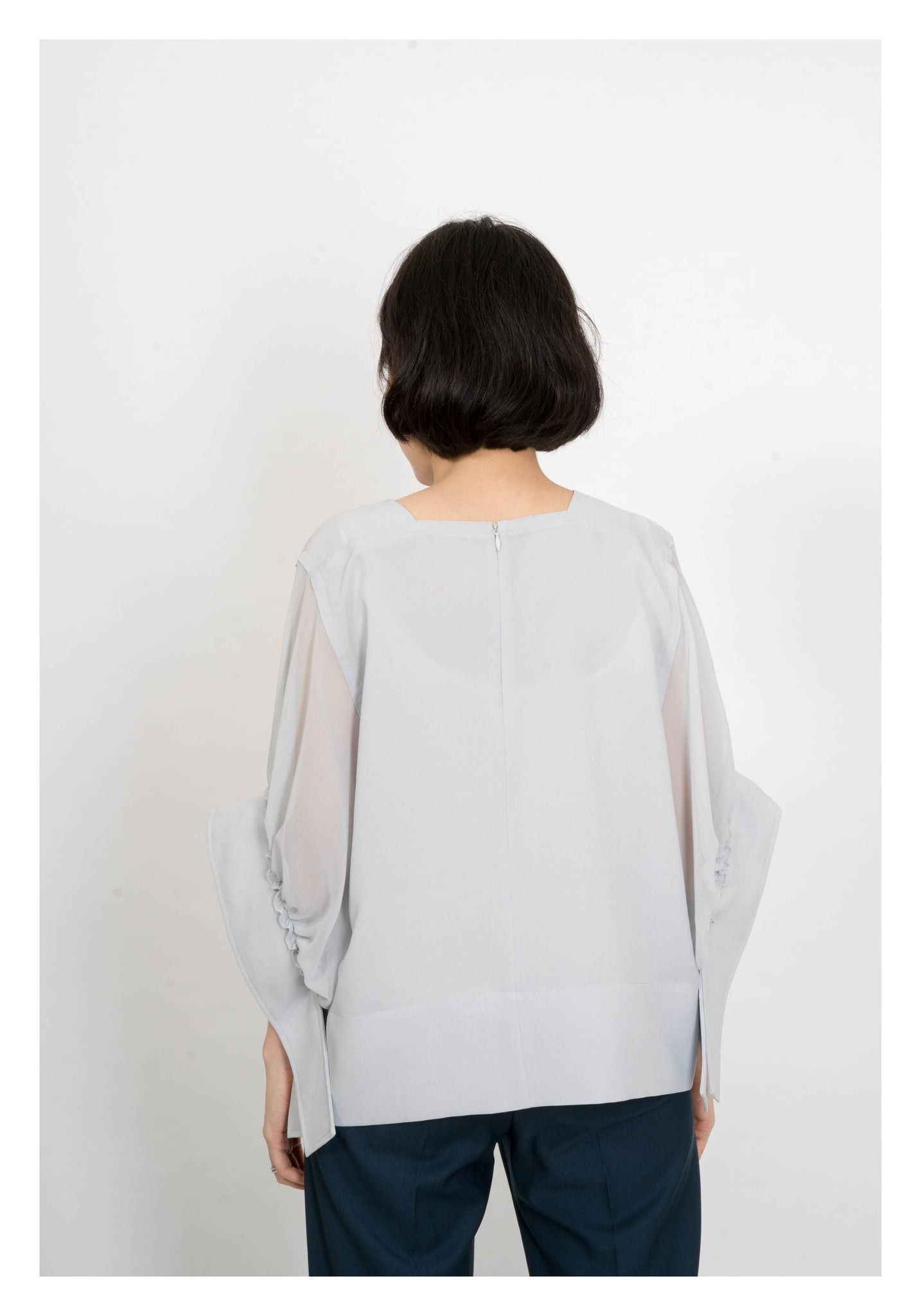 See Through Sleeve Tie Cuff Blouse Light Blue - whoami