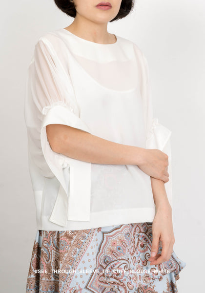 See Through Sleeve Tie Cuff Blouse White