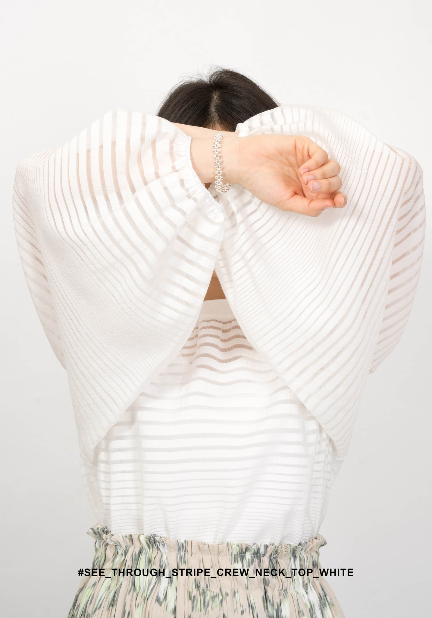 See Through Stripe Crew Neck Top White