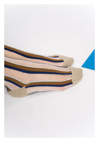 See Through Colour Stripe Socks Beige - whoami