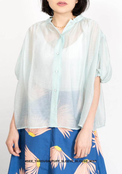 See Through Puff Sleeve Blouse Mint - whoami