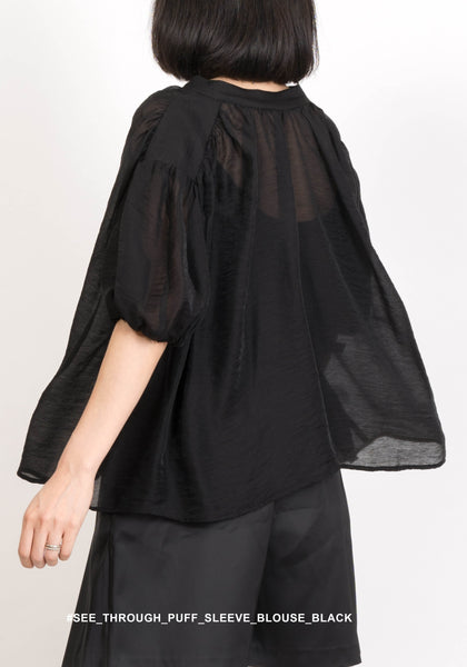See Through Puff Sleeve Blouse Black - whoami