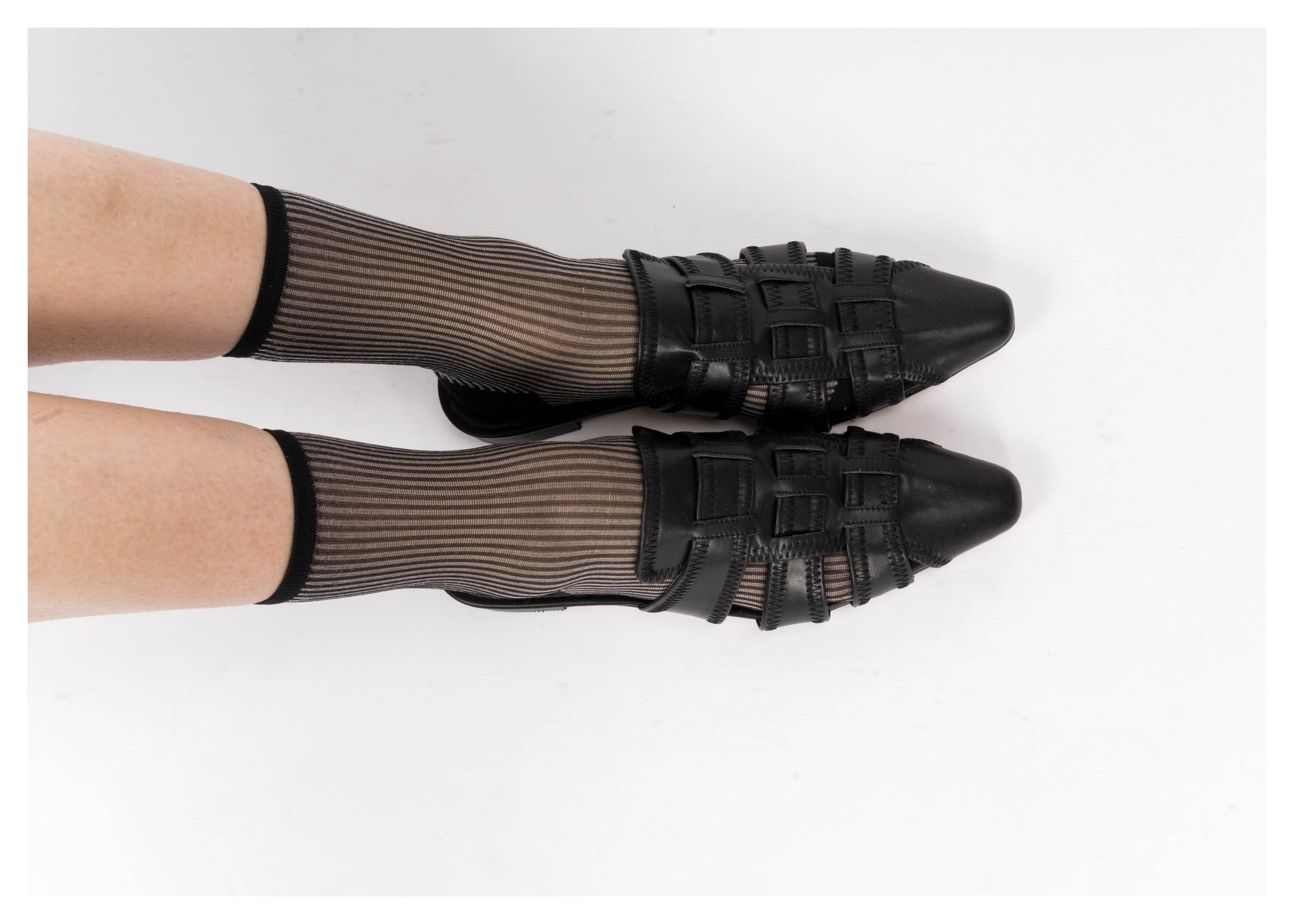 See Through Silver Stripe Socks - whoami