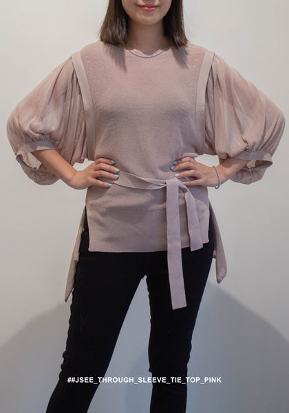 See Through Sleeve Tie Top Pink - whoami