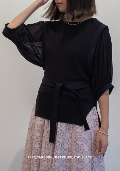 See Through Sleeve Tie Top Black - whoami