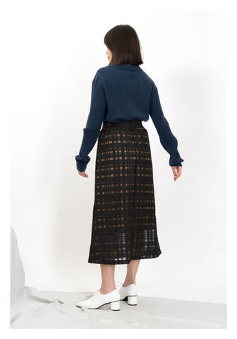 Sheer Checker A Line Skirt