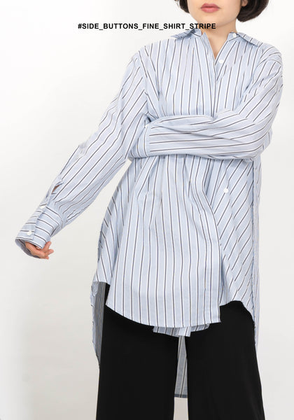 Side Buttons Fine Shirt Stripe