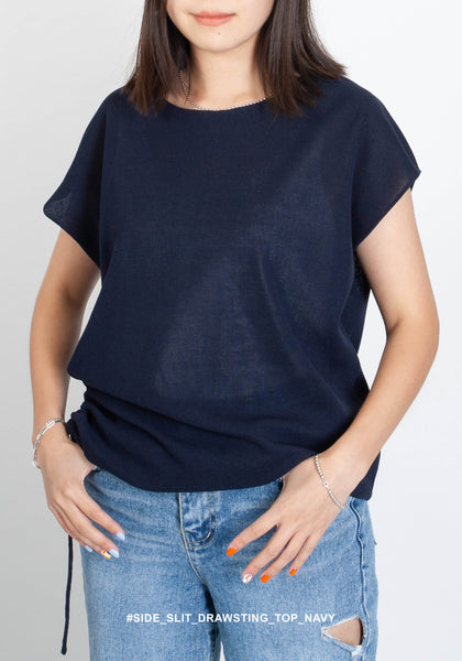 Side Slit Drawsting Top Navy - whoami