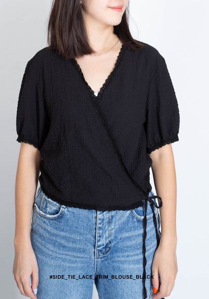 Side Tie Lace Trim Blouse Black - whoami