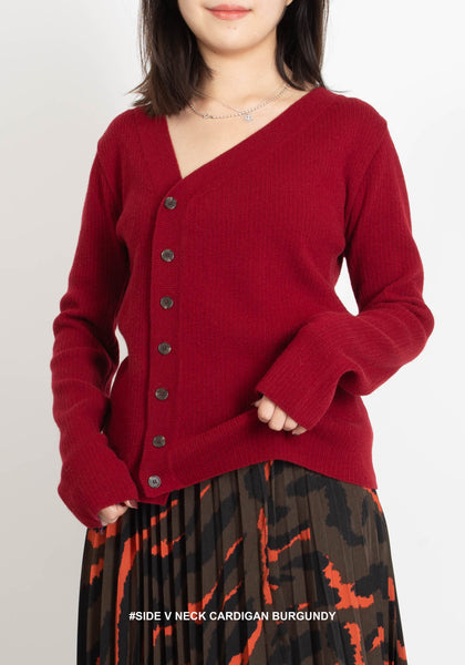 Side V Neck Cardigan Burgundy - whoami