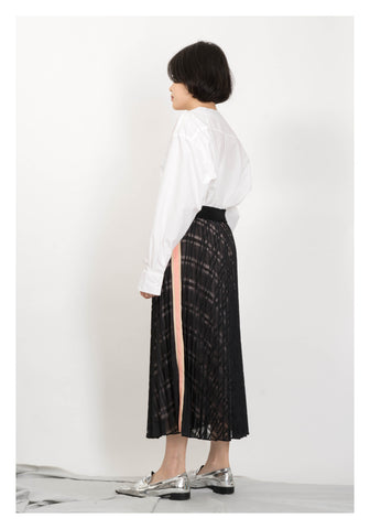 Side Strap Checker Pleated Skirt Black
