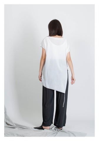 Side Slit Drawsting Top White