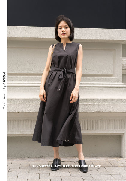 Silhouette Pleats Sleeveless Dress Black
