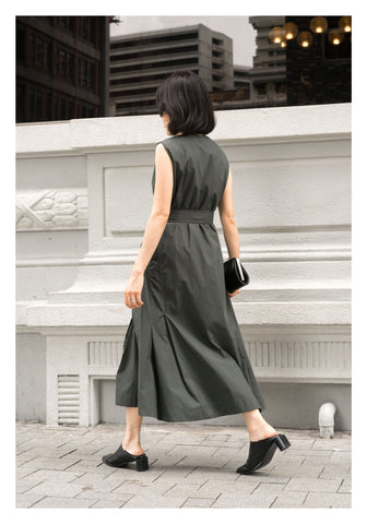 Silhouette Pleats Sleeveless Dress Green