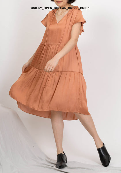Silky Open Collar Dress Brick